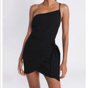 ONE SIDED LOVE BLACK BODYCON DRESS